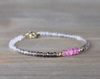 Ombre Smoky Quartz & Pink Tourmaline Bracelet in Sterling Silver or Rose Gold Filled, Beaded Brown Pink Faceted Gemstone Crystal Bracelet