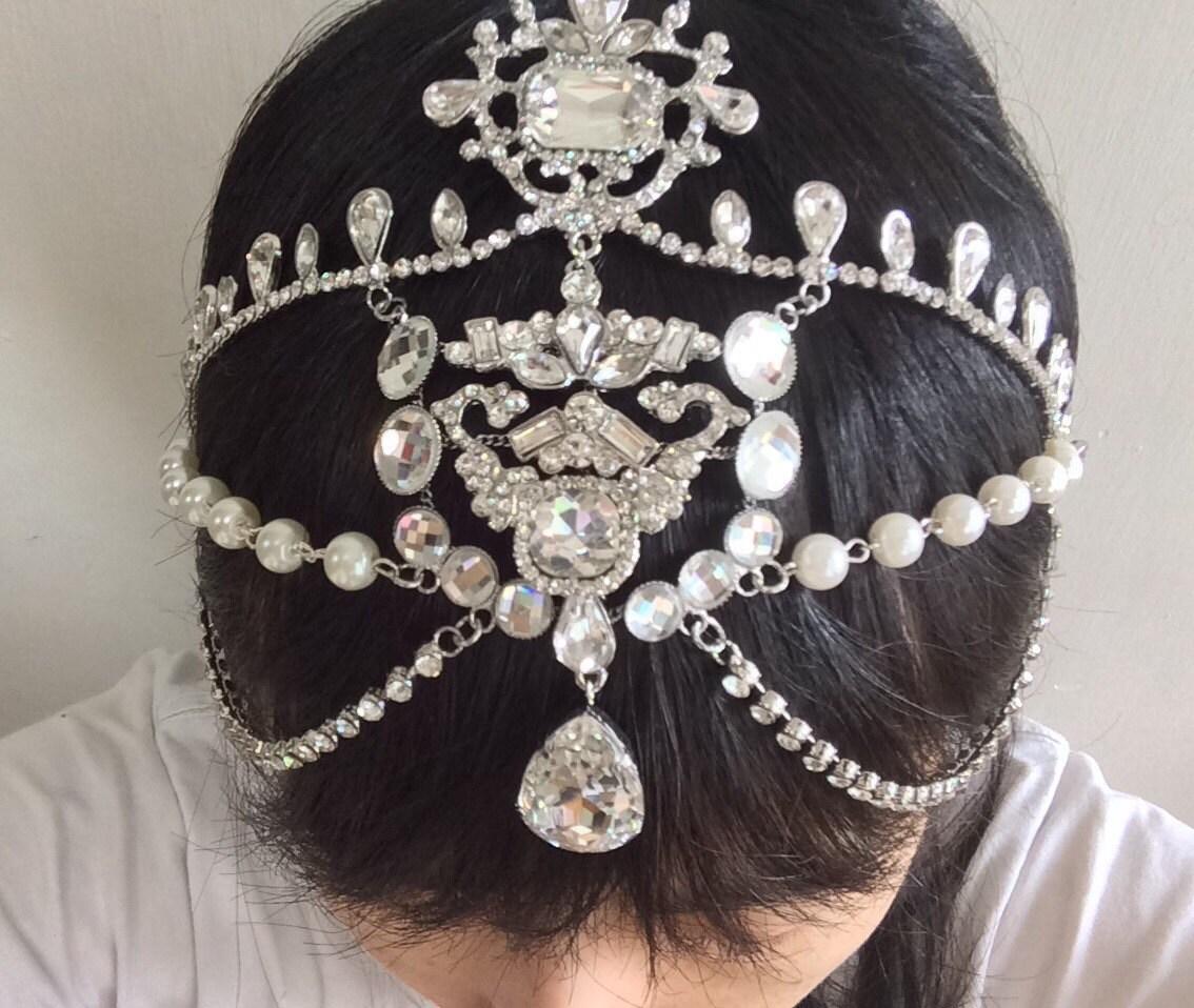 Victorian Style Wedding Hair: Romantic Victorian Style Sparkle Wedding Bridal Rhinestones