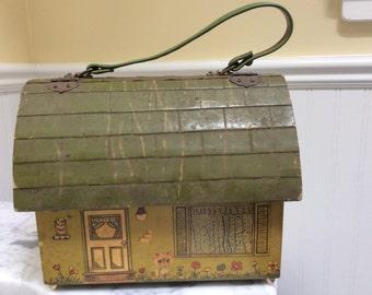 Vintage Wooden House Handbag