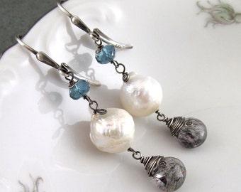Long kasumi like pearl earrings w/ London blue topaz and moss amethyst, handmade earrings-OOAK