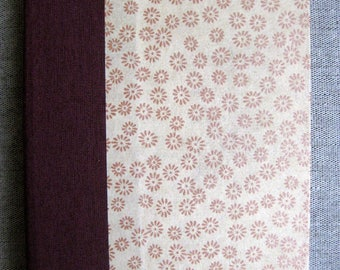 Small Lined Handbound Hardcover Journal Maroon Cream Flowers