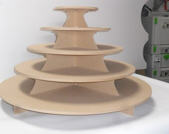 "5 Tier round XXL Cake / Cupcake Stand 1/2"" mdf Holds 200 cupcakes / Wedding Cupcake Stand"