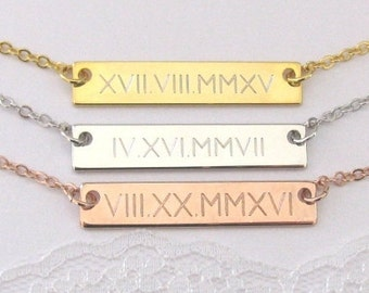 Roman Numeral Bar Necklace, Date Necklace, Personalized Jewelry, Gold Bar Necklace, Personalized Bar, Gift For Her, Dainty Engraved Bar