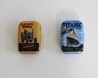 SALE / 2 Tin cans/ Tiny pill box/ Wedding ring box/ Retro Pill Case / Pillbox/ Altoids Mini Smalls tin