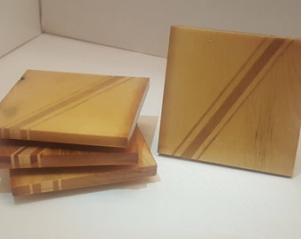 Rustic Modern Wood Coaster Set - Three Stripe - Set of 4 Handmade Wooden Coasters