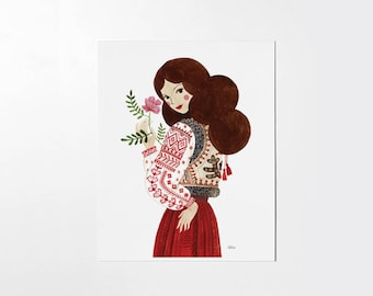 Folk Romanian Lady - 8x10 art print