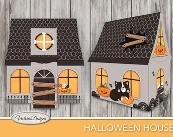 Halloween House Printable Haunted Mansion + Tutorial Paper Crafting pattern DIY instant download digital download sheets S3I2 - VDHOHA1703