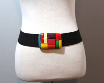 Vintage Belt Color Block Wood Black Elastic One Size Womens