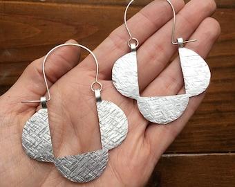 Hammered metal hoop earrings, triple half circle hoop earrings, geometric earrings