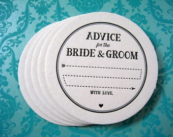 Letterpress Coaster Set - arrow advice bride & groom (set of 30)