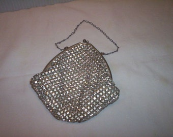 Vintage Rhinestone (Prong Set) Mesh Purse Handbag