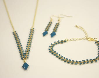 set necklace, bracelet and earrings peacock blue