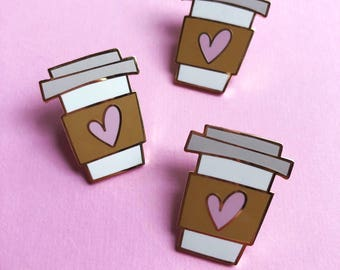 hard enamel pin for her valentines day gift for mom coffee cup pin best friend coffee lover pin valentine lapel pin gift for her pink heart