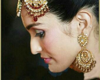 Kundan Chandelier Earrings-Kundan Chandbali 22K Gold plated Earrings- Indian Jewellery,Bridal Earrings,Wedding Jewellery by Taneesi XK44299