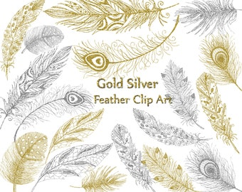 "Gold Siver Feather clipart: ""FEATHER CLIP ART"" Glitter Feathers Printable feathers Invitation clipart Wedding invites Diy clipart hand drawn"