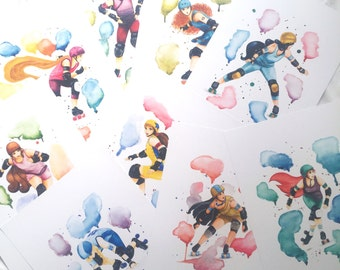 Set of 9 posters A3 ! - Roller Derby