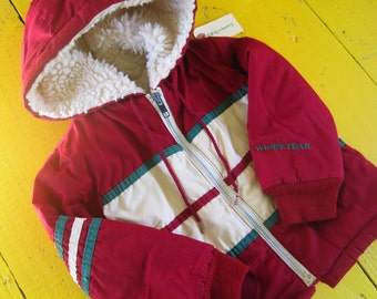 Vintage 2T/3T BOY Cranberry Winter Jacket, vintage baby boy winter jacket, vintage 2T winter coat, retro 3T vintage coat,