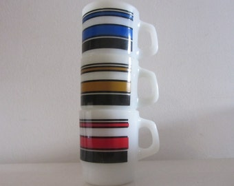 "FIRE KING - Produced by Anchor Hocking - One (1) Milk Glass Mug with Stripes in Ultramarine Blue - Pattern ""Super Stripe Mag"" - 1970s"