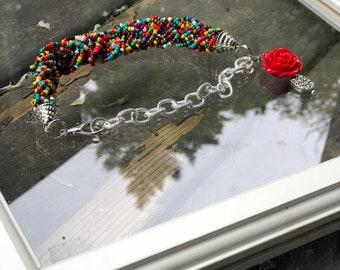 2 roses+rainbow beaded bangles set