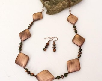 Geometric Necklace Copper Bead Statement Necklace Copper Necklace Set Contemporary Necklace Bib Necklace Birthday Anniversary Gift Her Wife
