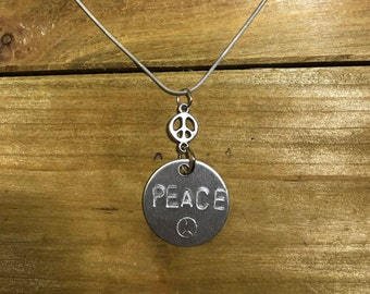 Hand-stamped Peace Necklace
