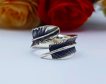 Feather Ring, Silver Feather Wrap Ring, Sterling Silver
