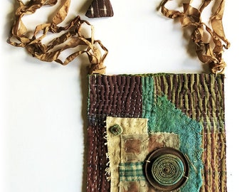 Primitive Handmade OOAK Boro Inspired Vintage Indian Kantha Quilt Pouch..Rusted Metal, Hand Dyed Ribbon Strap, Handmade Ceramic Disk