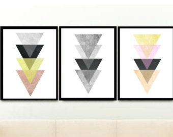 Scandinavian Art, Triptych, Geometric Art, Printable Art, Set of 3 Prints, Triangle Prints, Instant download, Wall Decor