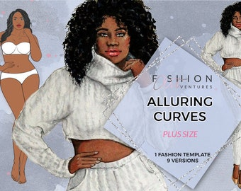 Alluring Curves Printable   Fashion Template, Fashion Illustration Template, Fashion Croquis, Fashion drawing, Fashion model template