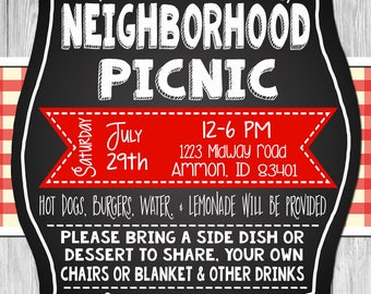 Rustic Picnic invitation//Rustic Wood//Red Gingham