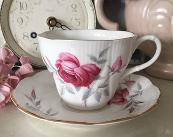 Vintage Richmond China Scalloped Teacup and Saucer, Pink roses
