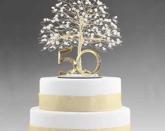 """50th Anniversary Cake Topper Gift Decoration Birthday Idea Tree Clear Quartz Crystal and Gold Tone Wire - 8""""w 9""""h w 5"""" Base"""
