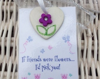 Handmade laminated Friendship gift card with clay heart attached.