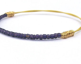 Beaded Bracelet // Guitar String Jewelry // Gold Purple Seed Bead Jewelry // Eco-Friendly Jewelry // Bridesmaid Gift // Friendship // Music