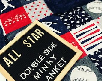 Baseball sports double sided designer Minky Blanket