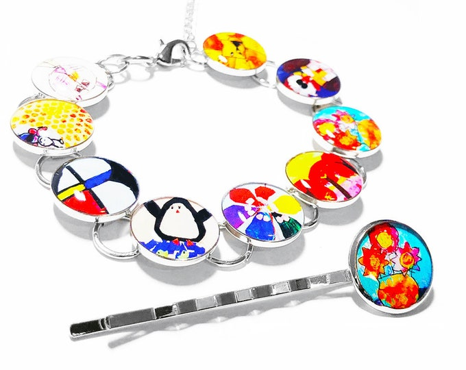 Childrens Artwork Bracelet, Custom Mothers Day Gift, Birthday or Christmas Gift, Personalized Gift for Mom, Childs Art, Family Gift
