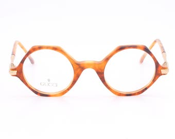 Gucci GG 1138 A54 vintage round eyeglasses made in Italy 80's
