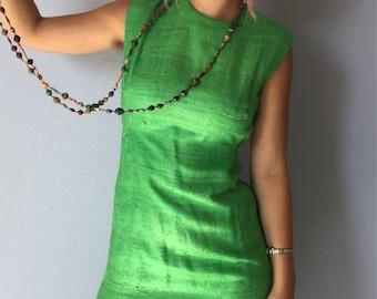 Vintage Sheath Dress Green Raw Silk Sleeveless 1960s Jackie-O