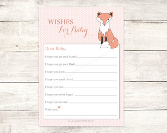 wishes for baby shower printable baby girl fox DIY pink polka dots woodland card cute baby shower digital games - INSTANT DOWNLOAD