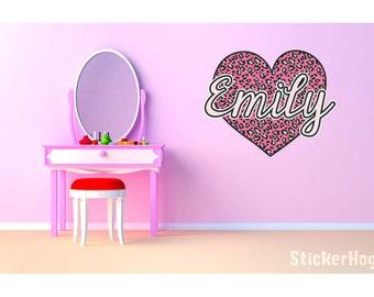 "Pink Cheetah Heart Monogram Name Girls Room Vinyl Wall Decal Graphics 19""x15"" Bedroom Decor"