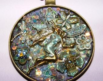 FairyGlass Flower Fairy Dragonfly Resin Pendant