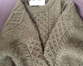 Quill's Woolen Market Dark Green 100% Wool Long Sleeve Sweater (XXL) - NEW (JR)