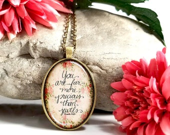 You Are Far More Precious Than Jewels-Large Oval- Glass Bubble Pendant Necklace