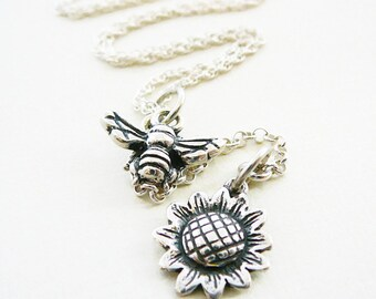 """Pendant Necklace, Bumble Bee Sun Flower Sterling Silver 24"""", Oxidized Wings"""