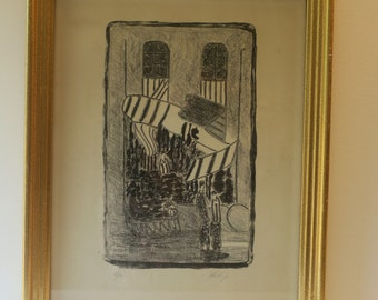 Signed anf Numbered Phillips Print Market Scene Abstract