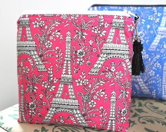 Eiffel Tower Pink Makeup Case Cosmetic Bag