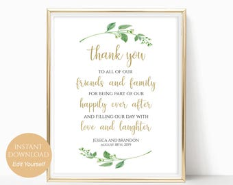 Personalized Wedding Sign Custom Wedding Sign Thank You Wedding Sign To Our Family and Friends Digital Wedding Sign 4x6, 5x7, 8x10 Jasmine