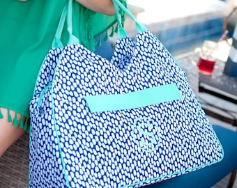 Tide Pool Beach Bag Tote - May be Monogrammed - Bridesmaids Gift, Gym Bag, Diaper Bag - Navy Blue Abstract Polka Dots