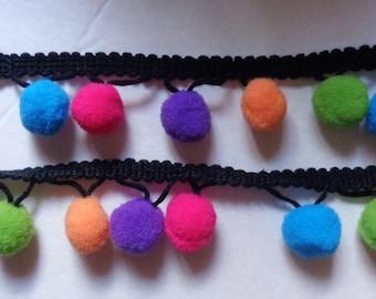 multi color Pom Pom Ball fringe Trim Ribbon Sewing  1 yard and 26 inch cut