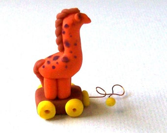 Giraffe Pull Toy Artisan Miniature Toy Giraffe Hand Formed One Inch Scale, Unique Giraffe Sculpted Animal Collectible Toy